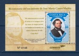 22.- COSTA RICA 2018 BIRTH OF JOSE MARIA CASTRO MADRIZ - BICENTENARY - Costa Rica