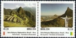 BRAZIL 2014  -  BRAZIL AND PERU  DIPLOMATIC TIES SERIES  -  HUMANITY's HERITAGE - Brazil
