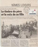 André Chamson Cachet FDC Nimes 24/4/1993 Sur Article De Journal Présentation Du Timbre - France