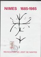 Plaquette Révocation De L'Edit De Nantes Cachet Accueil Des Huguenots ANDUZE 31/8/1985 Format 30 X 21 Cm - France
