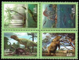 BRAZIL 2014  -  PREHISTORIC ANIMALS OF BRAZIL  - DINOSAURS   4v (+) - MINT - Unused Stamps
