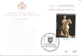 SMOM - 2018 Partecipazione Ufficiale 131^ Veronafil Su Cartolina Spec. Numerata (statua Equestre, Cattedrale Di Ferrara) - Sovrano Militare Ordine Di Malta