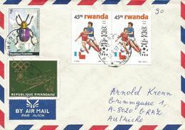 Rwanda 1997 Ruhengeri Beetle Corynodes Dejeani High Jump Olmpics World Cup Football Mexico Cover - 1990-99: Afgestempeld