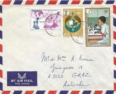 Rwanda 1977 Gisenyi Telephone Graham Bell Year Of Woman Microscope OCAM Cover - Rwanda