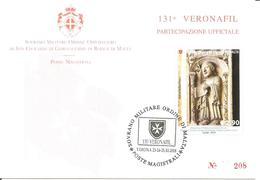 SMOM - 2018 Partecipazione Ufficiale 131^ Veronafil Su Cartolina Spec. Numerata (Profeta Ezechiele, Wiligelmo, Modena) - Sovrano Militare Ordine Di Malta