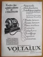 1926 - Electricité VOLTALUX       - Page Originale ARCHITECTURE INDUSTRIELLE - Machines