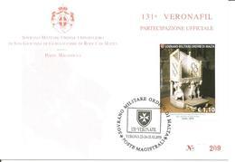 SMOM - 2018 Partecipazione Ufficiale 131^ Veronafil Su Cartolina Spec.numerata (cattedra Arcivescovo Elia, Basilica Bari - Sovrano Militare Ordine Di Malta