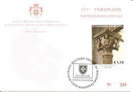 SMOM - 2018 Partecipazione Ufficiale 131^ Veronafil Su Cartolina Spec. Numerata (capitello Con Angeli, Basilica Di Bari) - Sovrano Militare Ordine Di Malta