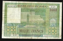 Morocco, Maroc, 1000 Francs 1952 P-47 FINE+ BANKNOTE RARE - Maroc