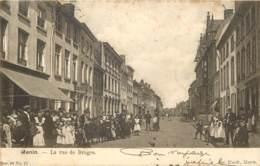 Belgique - Menin Menen - La Rue Très Animée De Bruges En 1904 Avec Timbre Taxe De France 10 Cts - Menen