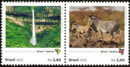 BRAZIL 2013  -  BRAZIL AND KENYA  DIPLOMATIC TIES - ZEBRAS , WATERFALL , LANDSCAPE  -  2v  MINT - Brasil