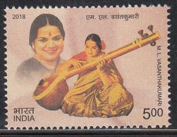 INDIA 2018  Dr ML Vasanthakumari: Singer. Musician, Teacher, Padma Bhushan Awardee,1v, MNH(**) - Inde