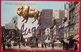 Cpa USA  NEW YORK , BUFFALO , Main Street, Tramway , BUFFLE METAL DORE  OLD  PC  THE BUFFALO ADD ON - Buffalo