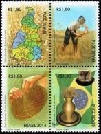 BRAZIL 2014  - GOLDEN GRASS  (Syngonanthus Nitens)  - ST - BLK OF 4 - Unused Stamps
