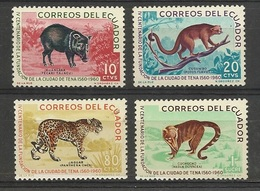 Equateur Ecuador 1961 Yv. 680/683 *  4è Centenaire De La Ville De Tena - Animaux Sauvages Pecari Jaguar Tamandua.. - Ecuador