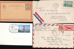 Persia Unused Card US Golden Gate Bridge 2 Aircraft Covers To Luxembourg WYSIWYG A04s - Collections (without Album)
