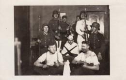 Unidentified Group German Soldiers, Guns Knives, Food, C1910s Vintage Real Photo Postcard - War 1914-18