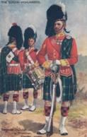 Gordon Highlanders Sergeant Bandsman And Drummer, Payne Artist Signed Tucks #9884 C1910s Vintage Postcard - Uniforms