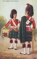 Gordon Highlanders Drummer And Bandsman, Artist Image, Valentines C1920s/30s Vintage Postcard - Uniforms