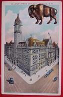 Cpa USA NEW YORK  , BUFFALO , POST OFFICE BUILDING , BUFFLE METAL DORE ,   OLD PC BUFFALO ADD ON - Buffalo