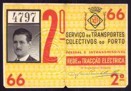 1959 Passe STCP Serviço De Transportes Colectivos Do PORTO Rede Tracção Electrica. Pass Ticket TRAM Portugal - Abonnements Hebdomadaires & Mensuels