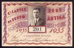 1935 Passe COMPANHIA Cª CARRIS De FERRO Do PORTO Rede Antiga 2º Semestre De 1935. Pass Ticket TRAM Portugal - Abonnements Hebdomadaires & Mensuels