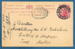 1900 GREAT BRITAIN POSTAL STATIONERY 1 P. QUEEN VICTORIA CANCEL PEEBLES 279 TO TIROL AUSTRIA - Interi Postali