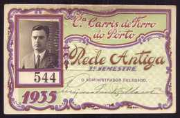 1935 Passe COMPANHIA Cª CARRIS De FERRO Do PORTO Rede Antiga 1º Semestre De 1935. Pass Ticket TRAM Portugal 1935 - Abonnements Hebdomadaires & Mensuels