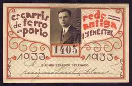 1933 Passe COMPANHIA Cª CARRIS De FERRO Do PORTO Rede Antiga 1º Semestre De 1933. Pass Ticket TRAM Portugal - Abonnements Hebdomadaires & Mensuels