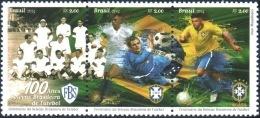 BRAZIL 2014 -  CENTENARY OF THE BRAZILIAN FOOTBALL TEAM  - 100 YEARS OF CBF -  SE TENANT  MNH - Brasil