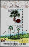 "BRAZIL 2013  -  PALMTREE "" BURITI""  -  MACAWS - COCONUT  - S/S  With 2 Stamps - Brasil"
