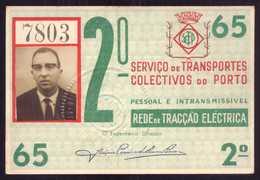 1965 Passe STCP Serviço De Transportes Colectivos Do PORTO Rede Tracção Electrica. Pass Ticket TRAM Portugal 1965 - Abonnements Hebdomadaires & Mensuels