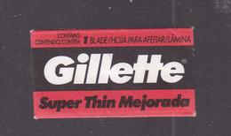 GILLETTE SUPER THIN MEJORADA 1 HOJA UNA HOJA HECHA EN COLOMBI. RAZORS LAMES DE RAIZOR HOJA DE AFEITAR. CIRCA 1950s-BLEUP - Razor Blades