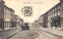 Manage - La Grand'Rue (animée, Colorisée, Attelage, Magasin économique 1909, Phototypie Marco Marcovici) - Manage