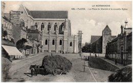 61 FLERS - La Place Du Marché Et La Nouvelle église - Flers
