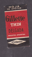 GILLETTE THIN DELGADA 1 HOJA UNA INDUSTRIA ARGENTINA. RAZORS LAMES DE RAIZOR HOJA DE AFEITAR. CIRCA 1940s-BLEUP - Razor Blades