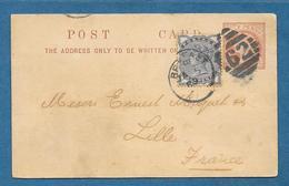 1889 GREAT BRITAIN POSTAL STATIONERY HALF PENNY + HALF PENNY BELFAST 62 TO FRANCE - Interi Postali