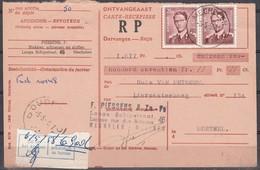 1028 (2) Met Stempel Mechelen 1 Op Ontvangkaart - 1953-1972 Brillen