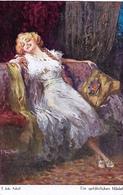 "Adolf  'Jodolfi'  -  Blonde On Sofa With Cushion : ""A Dangerous Woman"" - Adolf 'Jodolfi'"