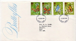 Great Britain Set On Used FDC - Butterflies