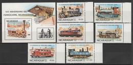 Nicaragua 1985 Mi 2579-2584 + Block 165(2585) 100 Years Nicaraguan Railways; 150 Years German Railways / **/MNH - Trains