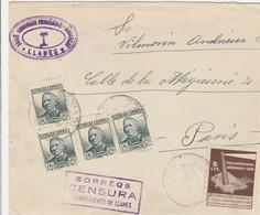 CARTA LLANES 1937 CON CENSURA Y VIÑETA DE ASTURIAS Y LEON ELA 82 - 1931-50 Lettres