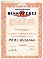 Ancienne Action - S.A. Tuileries Et Briqueteries D'Hennuyères Et De Wanlin - Titre De 1950 - Industrie