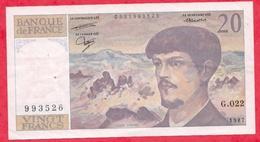 """20 Francs """"Debussy"""" 1987 ---XF/SUP+ -Série G.022 (PLUS GRAND NUMERO DE L ALPHABET- 022-( 993526) - 1962-1997 ''Francs''"""