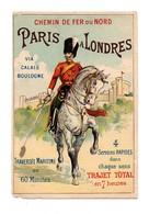 CHROMO 19ème Chemin De Fer Du Nord Paris à Londres Via Calais Boulogne Impression Les élégantes Militaire Cheval - Autres