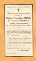 CARTE MORTUAIRE GENEALOGIE FAIRE PART AVIS DECES BARBIER CORDIEZ LAMBRES LEZ AIRES 1876 1953 - Décès