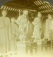 Chine Canton Guangzhou Dieux De La Guerre Temple Des 5 Genies Ancienne Photo Stereo 1900 - Stereoscopic