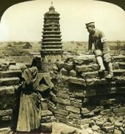 Chine Mukden Vue Du Vieux Rempart Ancienne Photo Stereo White 1900 - Photos Stéréoscopiques