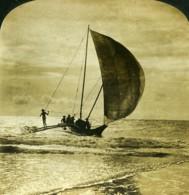 Ceylan Wellawatta Voilier Cingalais Ancienne Photo Stereo White 1900 - Stereoscopic