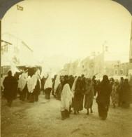 Palestine Bethléem Bethlehem Scene De Rue Animee Ancienne Photo Stereo 1900 - Stereoscopic